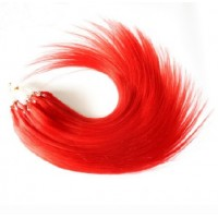 "Micro Loop Hair Extensions 20"" set of 10 Pieces (Red)"