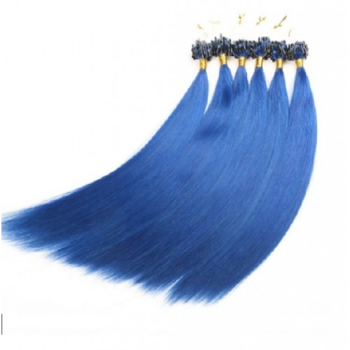 "Micro Loop Hair Extensions 20"" set of 10 Pieces (Blue)"